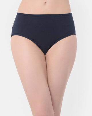 Shop Clovia Mid Waist Hipster Panty with Dog Print Back in Navy - Cotton-Front