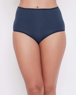 Shop Clovia Mid Waist Polka Print Hipster Panty in Navy with Inner Elastic-Front