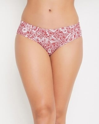 Shop Clovia Mid Waist Printed Hipster Panty with Inner Elastic in Red - Cotton-Front