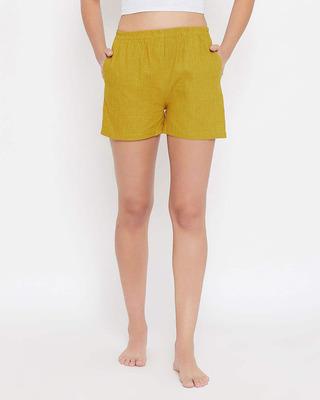 Shop Clovia Mustard Boxer Shorts in Orange - 100 Cotton-Front
