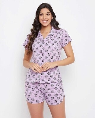 Shop Clovia Owl Print Button Me Up Shirt & Shorts Set in Lilac-Front