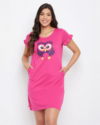Shop Clovia Owl Print Sleep Tee in Magenta-Front