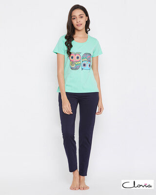 Shop Clovia Owl Print Top & Pyjama in Sea Green & Navy - 100% Cotton-Front
