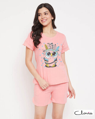 Shop Clovia Owl Print Top & Shorts Set in Baby Pink - Cotton Rich-Front