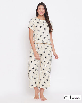 Shop Clovia Panda Print Cropped Top & Wide Leg Pyjama Set in Light Yellow - Rayon-Front