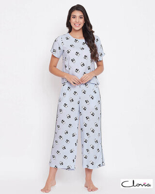 Shop Clovia Panda Print Cropped Top & Wide Leg Pyjama Set in Powder Blue - Rayon-Front