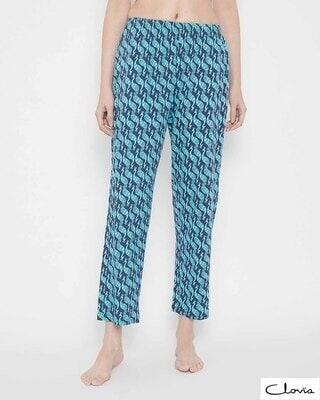 Shop Clovia Peacock Print Pyjama in Blue -Front