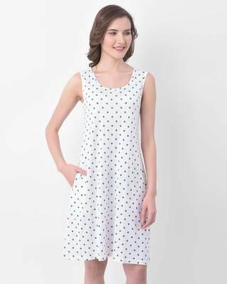 Shop Clovia Polka Print Sleep Dress in White- Cotton Rich-Front