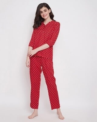 Shop Clovia Polka Print Top & Pyjama in Red-Front
