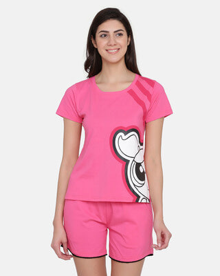 Shop Clovia Powerpuff Girls by Printed Top & Shorts Set in Pink-Front