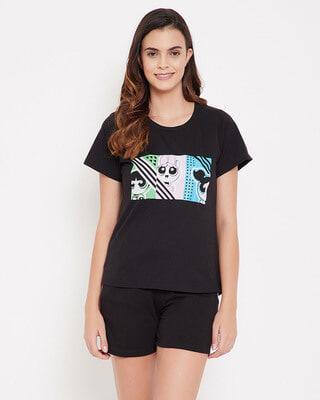 Shop Clovia Powerpuff Girls Print Top & Shorts Set In Black-Front