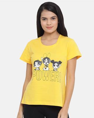 Shop Clovia Powerpuff Girls Print Top in Yellow - Cotton Rich-Front