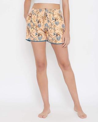Shop Clovia Pretty Florals Boxer Shorts in Cream-Colour- Rayon-Front