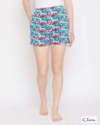 Shop Clovia Pretty Florals Boxer Shorts in Multicolour- 100% Cotton-Front