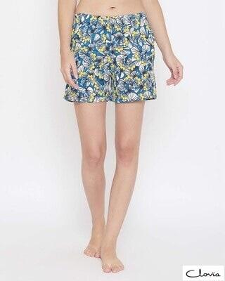 Shop Clovia Pretty Florals Boxer Shorts in Multicolour-Front