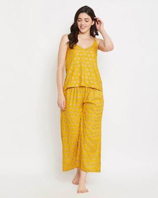 Shop Clovia Pretty Florals Cami Top & Flared Pyjama Set in Mustard Yellow-Front