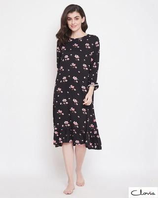 Shop Clovia Pretty Florals Mid Length Night Dress in Black-Front