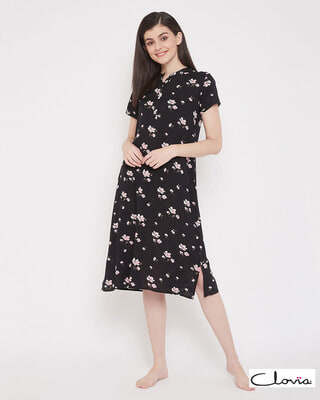 Shop Clovia Pretty Florals Mid Length Night Dress with Side Slits in Black - Rayon-Front