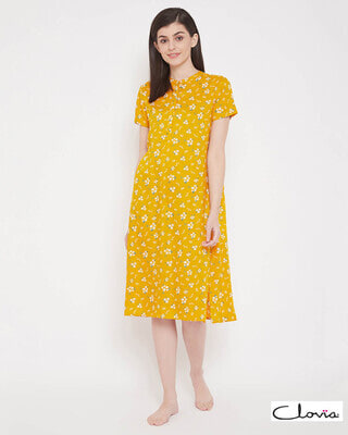 Shop Clovia Pretty Florals Mid Length Night Dress with Side Slits in Yellow - Rayon-Front