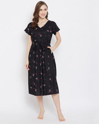 Shop Clovia Pretty Florals Night Dress in Black-Front