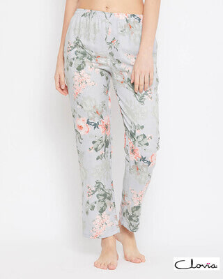 Shop Clovia Pretty Florals Pyjama in Grey - Rayon-Front