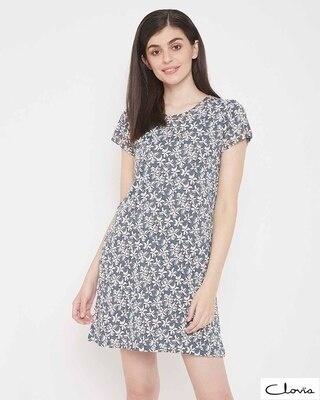 Shop Clovia Pretty Florals Short Night Dress in Grey -Front