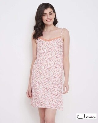Shop Clovia Pretty Florals Short Night Dress in White- 100% Cotton-Front