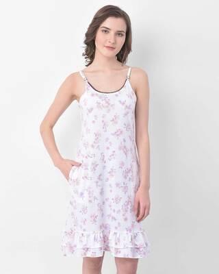 Shop Clovia Pretty Florals Sleep Dress in White- Cotton Rich-Front
