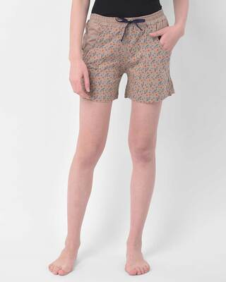 Shop Clovia Pretty Florals shorts in Nude-Colour - Cotton Rich-Front