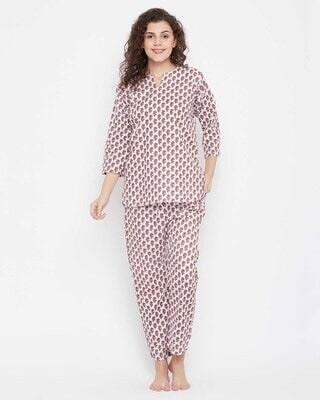 Shop Clovia Pretty Florals Top & Pyjama in Brown-Front