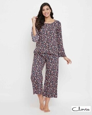 Shop Clovia Pretty Florals Top & Pyjama in Navy - Rayon-Front