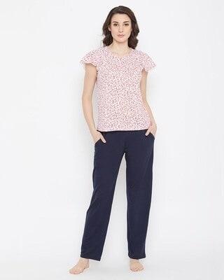 Shop Clovia Pretty Florals Top & Solid Pyjama in White & Navy -Front