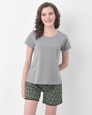 Shop Clovia Print Me Pretty Boxer Shorts & Sleep T-shirt-Front