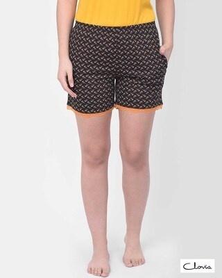 Shop Clovia Print Me Pretty Boxer Shorts in Black- Cotton Rich-Front
