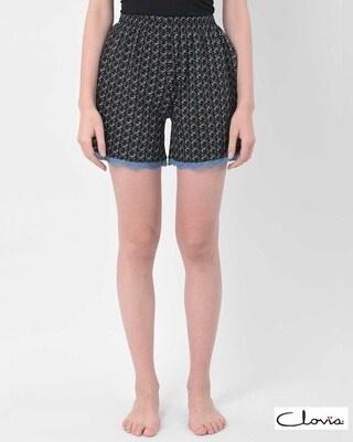 Shop Clovia Print Me Pretty Boxer Shorts in Black-Front