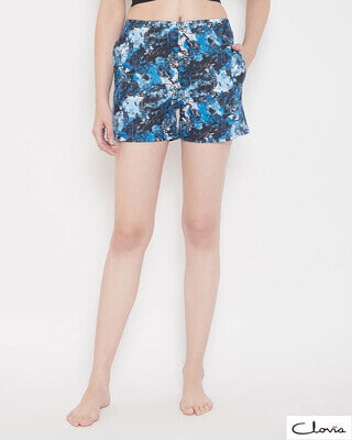 Shop Clovia Print Me Pretty Boxer Shorts in Blue-Front