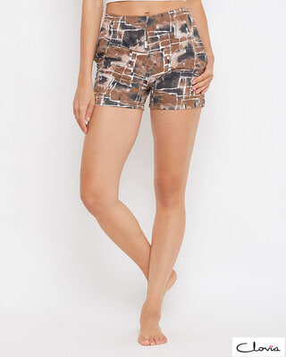 Shop Clovia Print Me Pretty Boxer Shorts in Brown -Front