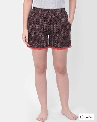 Shop Clovia Print Me Pretty Boxer Shorts in Brown - Cotton Rich-Front