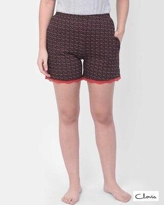 Shop Clovia Print Me Pretty Boxer Shorts in Brown - Cotton Rich-Front