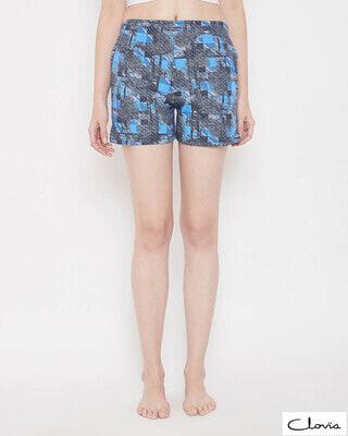 Shop Clovia Print Me Pretty Boxer Shorts in Light Blue -Front