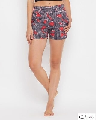 Shop Clovia Print Me Pretty Boxer Shorts in Red -Front