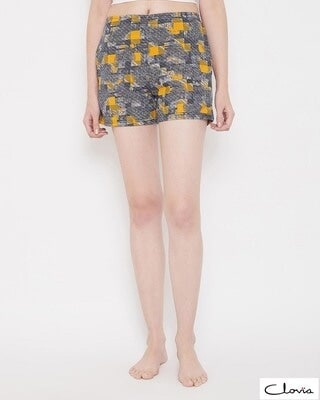 Shop Clovia Print Me Pretty Boxer Shorts in Yellow -Front