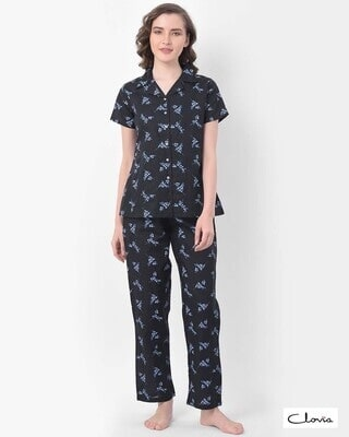 Shop Clovia Print Me Pretty Button Me Up Shirt & Pyjama in Black- Crepe-Front