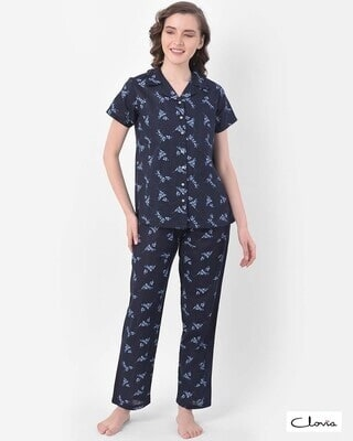 Shop Clovia Print Me Pretty Button Me Up Shirt & Pyjama in Navy- Crepe-Front