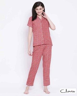 Shop Clovia Print Me Pretty Button Me Up Shirt & Pyjama in Red-Front
