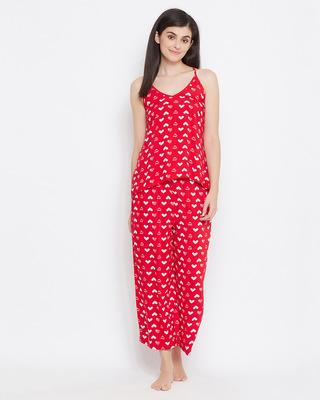 Shop Clovia Print Me Pretty Cami Top & Pyjama Set in Red-Front