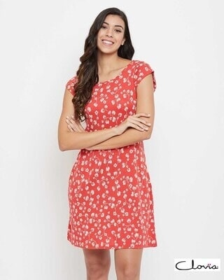 Shop Clovia Print Me Pretty Floral Short Nightdress With Pocket-Front