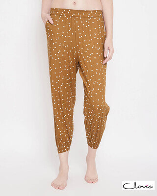 Shop Clovia Print Me Pretty Jogger Style Pants in Brown - Rayon-Front