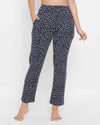 Shop Clovia Print Me Pretty Pyjama in Black -Front