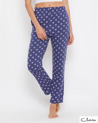 Shop Clovia Print Me Pretty Pyjama in Blue-Front